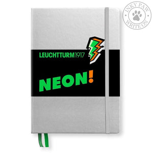 Leuchtturm1917 Medium (A5) Hardcover Journal - Silver/neon Green (Limited Edition) Paper