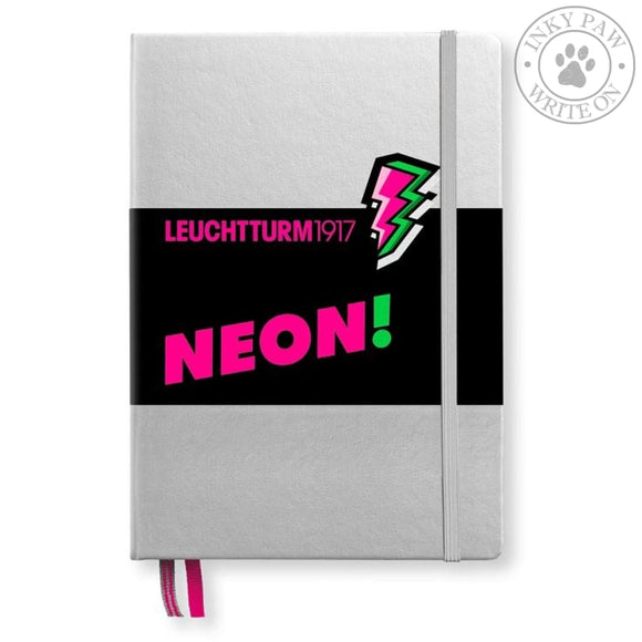 Leuchtturm1917 Medium (A5) Hardcover Journal - Silver/neon Pink (Limited Edition) Paper