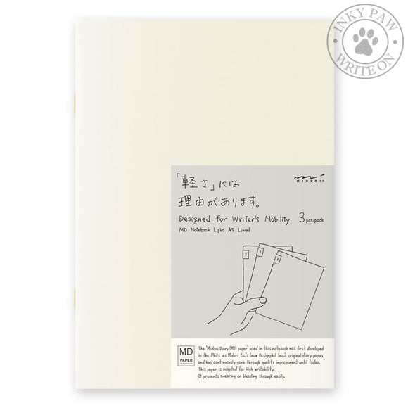 Midori Md Notebook Light A5 - Lined (3-Pack) Paper