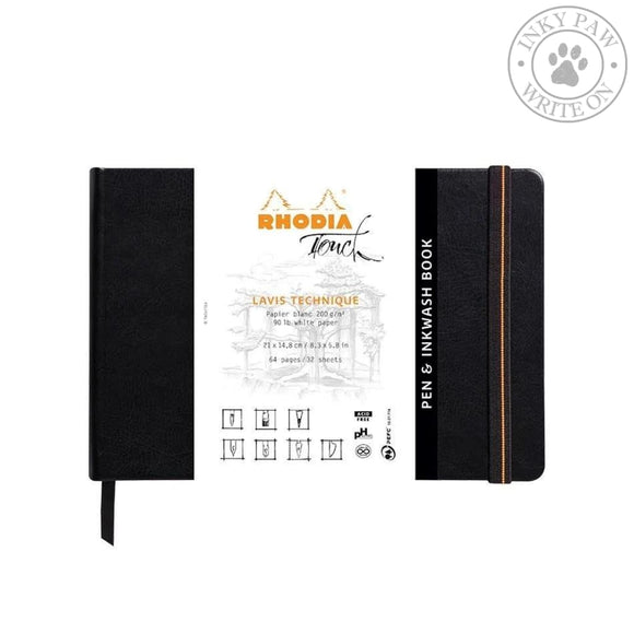 Rhodia A5 Hardcover Pen & Inkwash Book - Black Paper