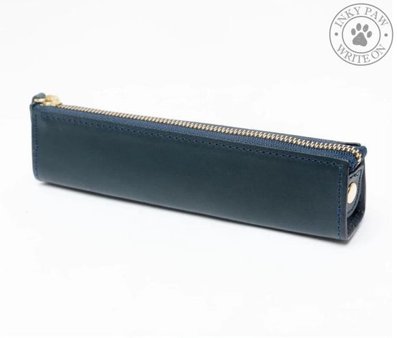 Slip-On Rio Leather Zippered Pen Case - Navy