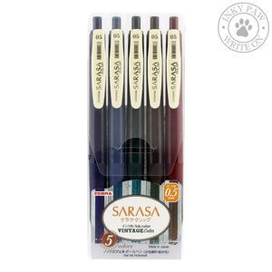 Zebra Sarasa Clip 0.5Mm Vintage 5-Colour Gel Pen Set #1 Pens