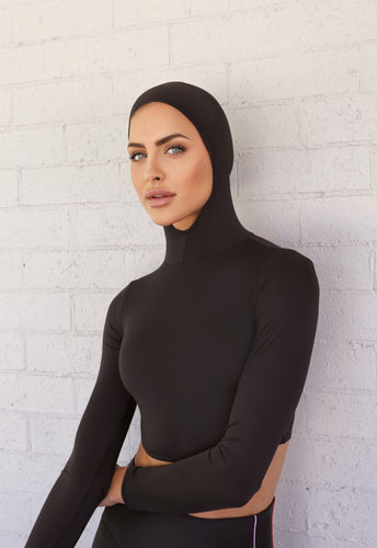 Luxe Hooded Crop Midnight