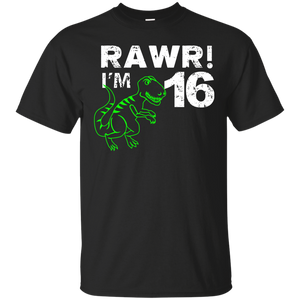 16th Birthday Rawr I m 16 Shirt Sixteen Year Old Dinosaur.png