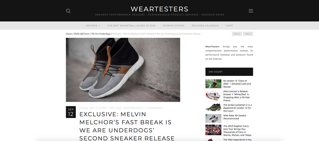 Releasing FAST BREAK: our second sneaker by the look of WearTesters