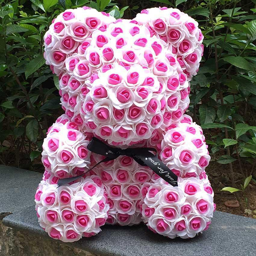 Multi Color Rose Teddy Bears | Large-Iconic Spark