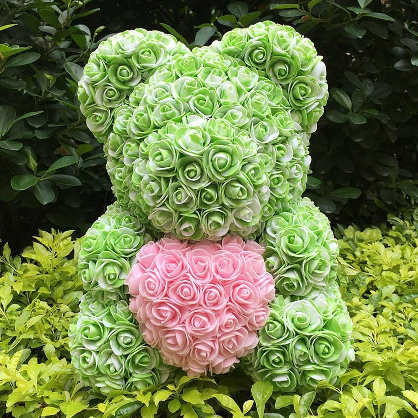 Multi Color Rose Teddy Bears with Hearts | Large-Iconic Spark