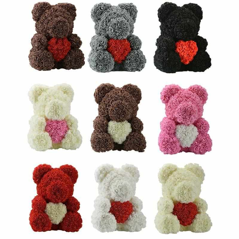 Rose Teddy Bears with Hearts | Large (Gift Box Included)-Iconic Spark