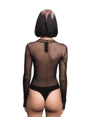 Sami Miro Vintage Mesh Bodysuit w/ Denim Patch