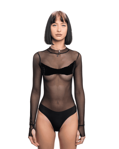 Sami Miro Vintage Mesh Bodysuit w/ Black Crushed Velvet Patch