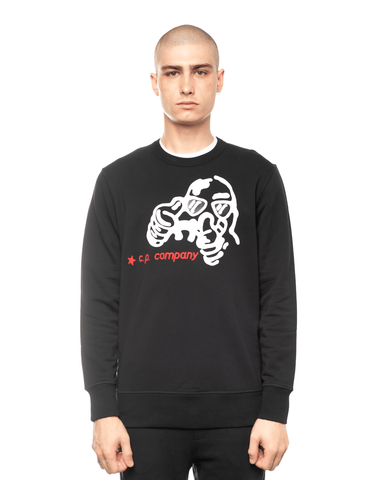 C.P. Company Brushed Fleece Cartoon Graphic Crewneck Black