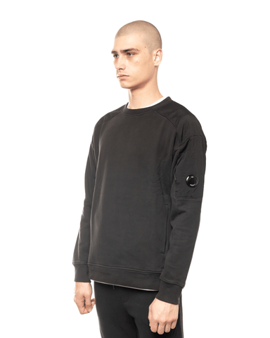 C.P. Company Garment Dyed Fleece Taylon P Mixed Lens Crewneck Black