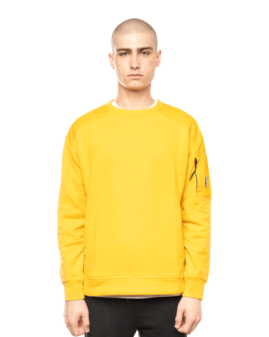 C.P. Company Garment Dyed Fleece Taylon P Mixed Lens Crewneck Golden Yellow