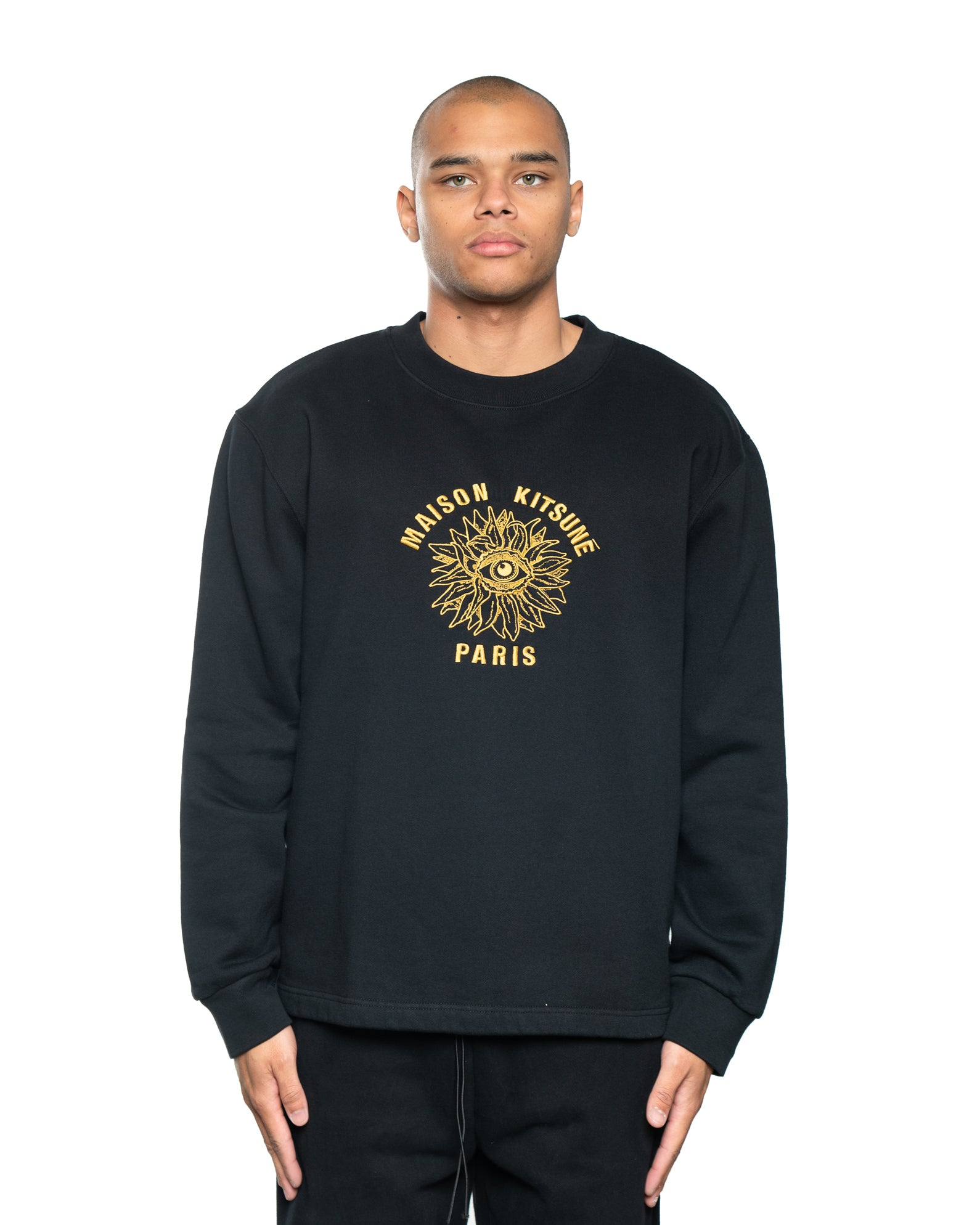 Maison Kitsune Big Eye Flower Embroidery Crewneck Black