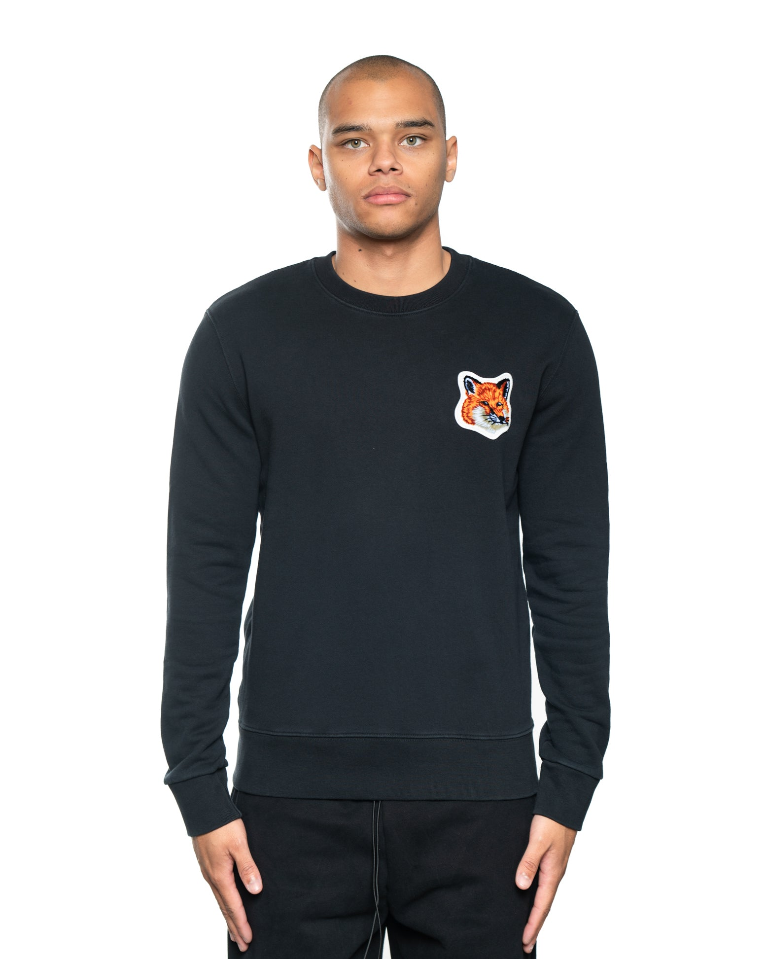 Maison Kitsune Velvet Fox Head Patch Crewneck Black