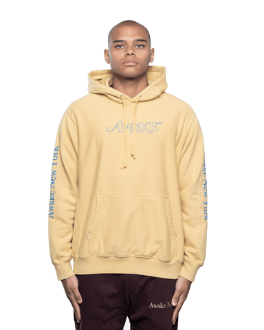Awake NY Classic Outline Logo Panelled Embroided Hoodie Mustard
