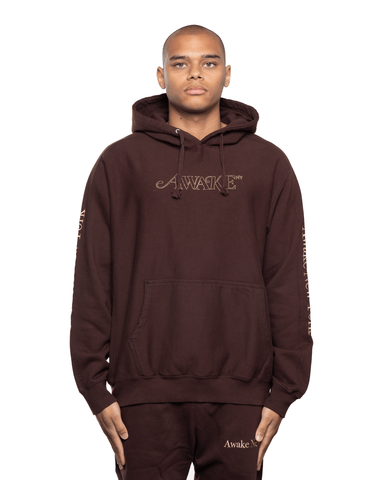 Awake NY Classic Outline Logo Panelled Embroided Hoodie Brown