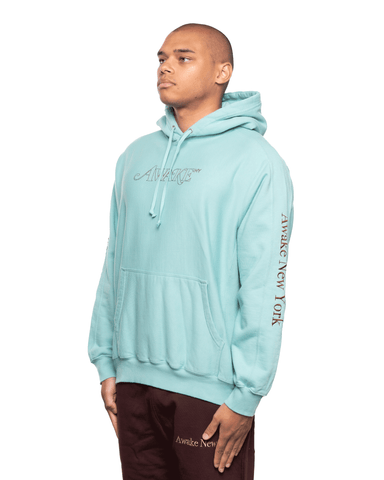 Awake NY Classic Outline Logo Panelled Embroided Hoodie Teal