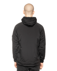 C.P. Company Garment Dyed Stretch Nylon Pullover Lens Hoodie Black