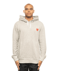 CDG PLAY AZ-T170 -051 Red Heart Patch Hoodie Grey