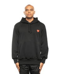 CDG PLAY AZ-T174-051 Red Heart Patch Hoodie Black