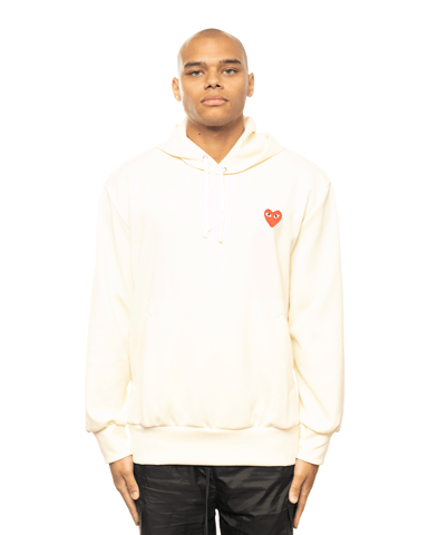 CDG PLAY AZ-T174-051 Red Heart Patch Hoodie Ivory