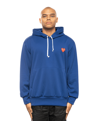 CDG PLAY AZ-T174-051 Red Heart Patch Hoodie Blue
