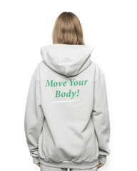 Sporty and Rich Move Your Body Logo Hoodie Heather Grey