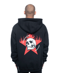 Vision Of Super White Skull and Red Star Hoodie Black