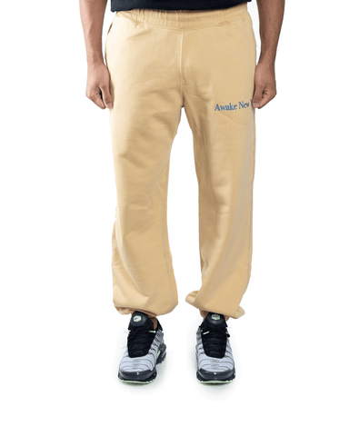 Awake NY Classic Outline Logo Panelled Embroided Sweatpants Mustard