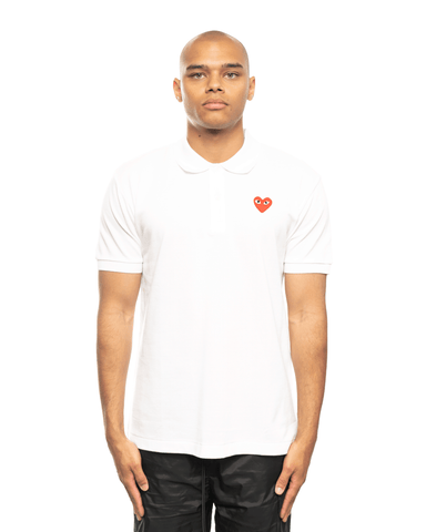 CDG PLAY AZ-T006-051 Red Heart Patch Polo Shirt White