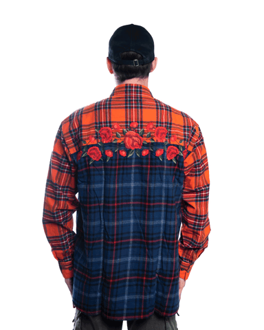 Awake NY Embroidered Rose Flannel Shirt Red
