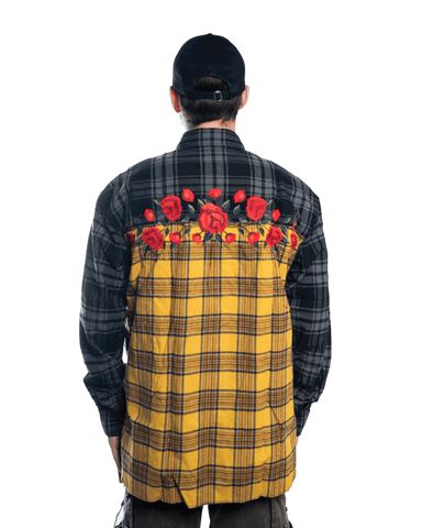 Awake NY Embroidered Rose Flannel Shirt Yellow