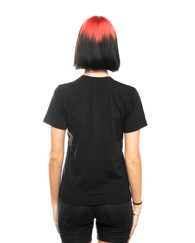 CDG PLAY AZ-T107-051 Womens Red Heart Patch Tee Black