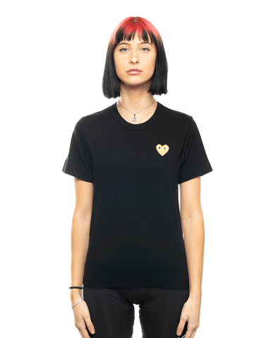 CDG PLAY AZ-T215-051 Womens Gold Heart Patch Tee Black