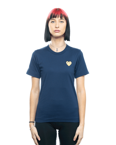 CDG PLAY AZ-T215-051 Womens Gold Heart Patch Tee Navy