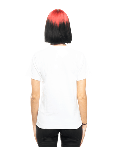 CDG PLAY AZ-T107-051 Womens Red Heart Patch Tee White