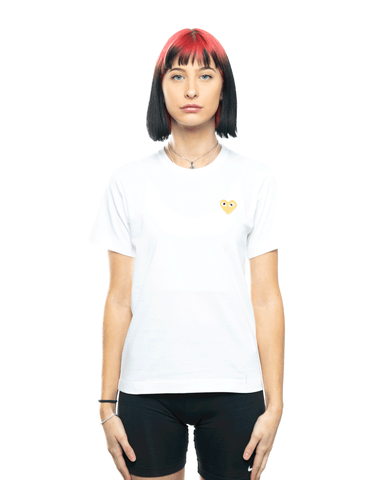 CDG PLAY AZ-T215-051 Womens Gold Heart Patch Tee White