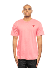CDG PLAY AZ-T272-051-3 Red Heart Patch Tee Pink