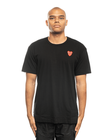 CDG PLAY AZ-T288-051-1-2 Double Heart Patch Tee Black