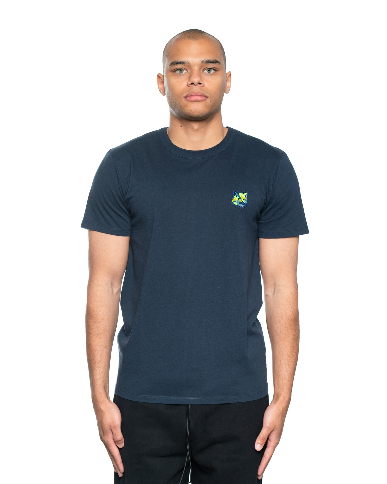 Maison Kitsune Velvet Neon Fox Head Patch Tee Navy