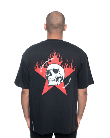 Vision Of Super White Skull and Red Star Tee Black