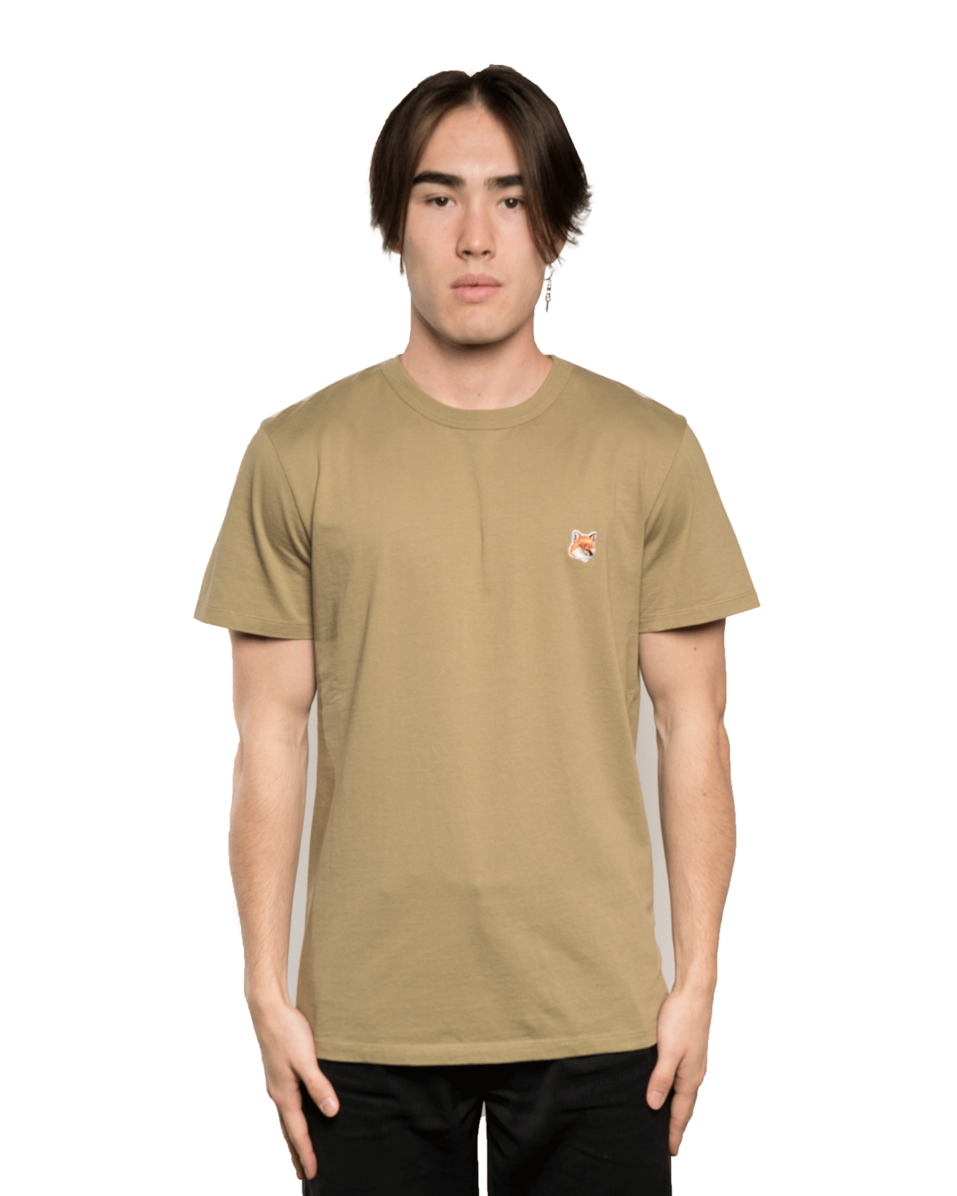 Maison Kitsuné Fox Head Patch Tee Khaki