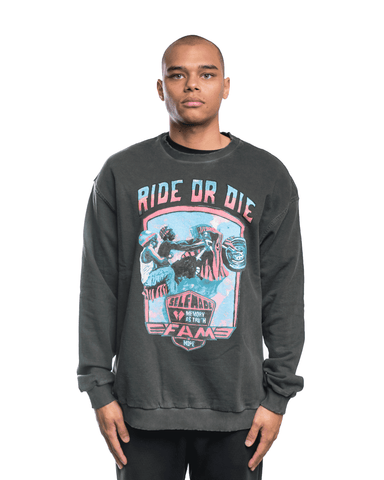 Selfmade Crewneck Cold Dye Screen Print Black