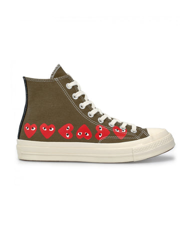 CDG PLAY x Converse CT 70 Multi Heart Hi Top Khaki