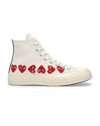 CDG PLAY x Converse CT 70 Multi Heart Hi Top Off White