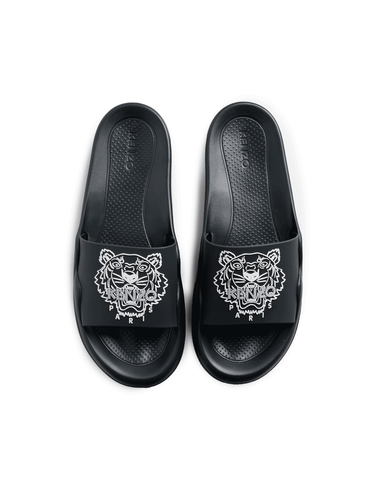 Kenzo Pool Mule Tiger Head Slide Black