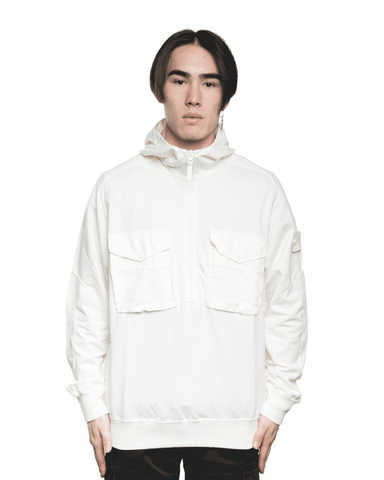 Stone Island MO7215636F3 Front Pockets Ghost Hoodie Ivory