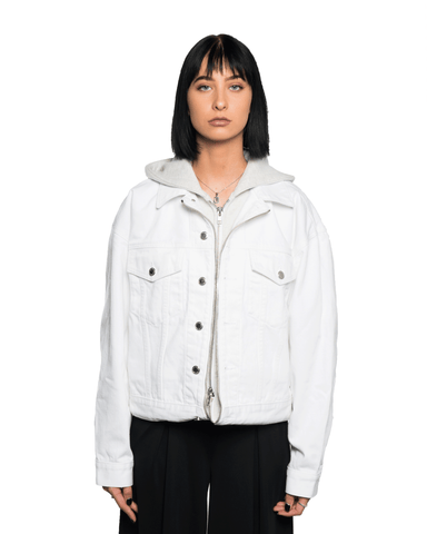 Alexander Wang Runway Game Hoodie Hybrid Jacket White