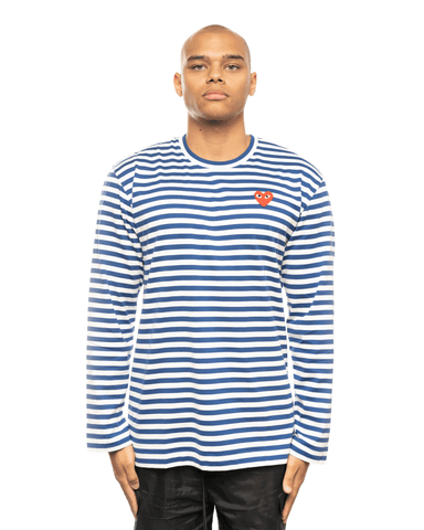 CDG PLAY AZ-T164-051 Red Heart Patch Striped LS Tee Blue Stripes